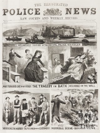 A newspaper section depicting police events in Bath and the surrounding area. 1870.