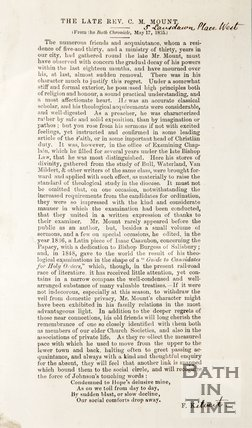 The obituary of the late Rev. C. M. Mount. 1855.