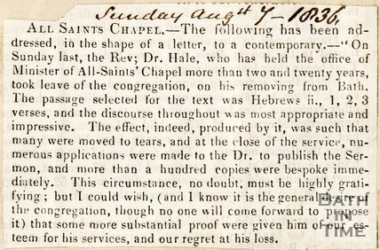 Newspaper article announcing the Rev. Dr. Hale has left All Saints Chapel. 1836.