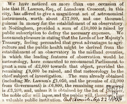 Newspaper article concerning funds for the Midland Counties Observatory, Nottingham. 1853.