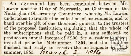 Newspaper article concerning Midland Counties Observatory, Nottingham. 1854.