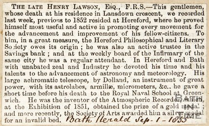 Newspaper article announcing the death of Henry Lawson. 1855.