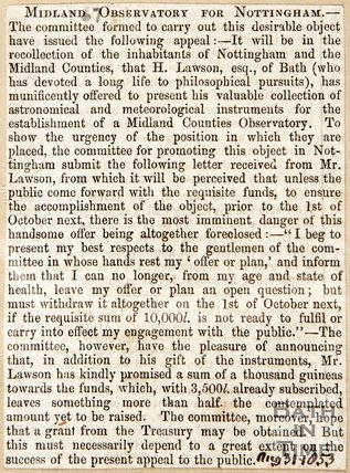 Newspaper article concerned with the Midland Counties Observatory, Nottingham. 1853.