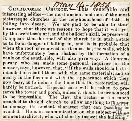 Newspaper article concerning the restoration of Charlcombe Church. 1856