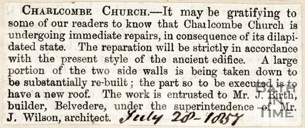 Newspaper article concerning the restoration of Charlcombe Church. 1857