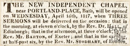 Newspaper article announcing the opening of the new independent chapel, Portland 1817