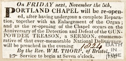 Newspaper article announcing the re-opening of the new Portland chapel 1824