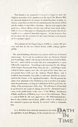 Pamphlet concerning the chapel on Beacon Hill 1837