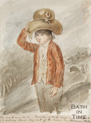 Watercolour of boy balancing a sack of sand on his head from Beacon Hill.