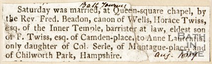 Newspaper article announcing the marriage of Horace Twiss and Anne Laurentia. 1817.