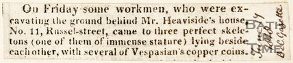 Newspaper article announcing the discovery of three skeletons and copper coins, Russel Street. 1818