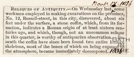 Newspaper article detailing the discovery of three skeletons and copper coins, Russel Street. 1836