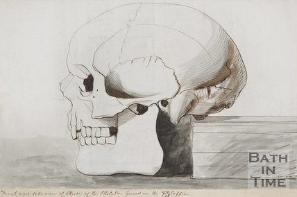 Drawing of a skull found in the stone coffins found behind Russel Street. 1852.