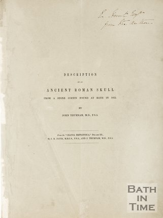 Pamphlet describing the ancient Roman Skulls found at Bath, 1852.