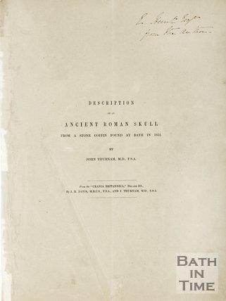Pamphlet describing the ancient Roman Skulls found at Bath, 1852.
