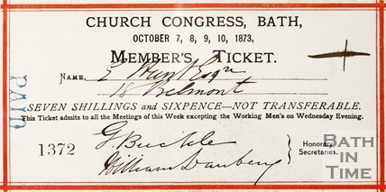A members ticket for the Church Congress Meeting, 1873.