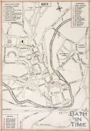 Map of Bath City Centre.