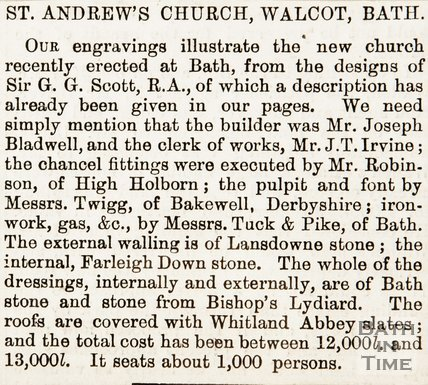 Newspaper article describing St Andrews Church, Walcot, Bath. 1874.