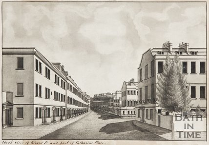 West view of Rivers Street and Catharine Place, from Upper Church Street, Bath c.1785