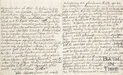 A handwritten note concerning the death of David Hartley. 1813. verso