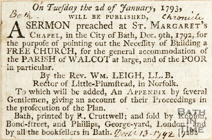Newspaper article concerning the planning of the Walcot Free Church, 1792.