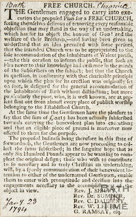 Newspaper article concerning the building of the Walcot Free Church. 1794.
