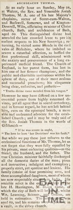 Newspaper article announcing the death of Josiah Thomas.