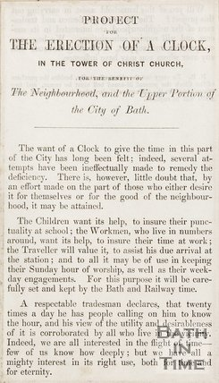Pamphlet concerning the erection of a clock in Christ Church.