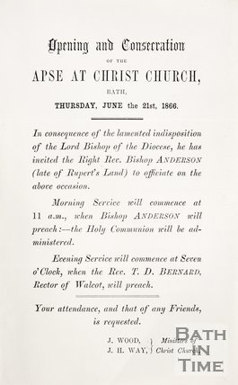 Pamphlet concerning the form of service at the opening at the apse in Christ Church, Walcot. 1866.