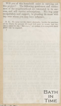 Pamphlet concerning the erection of a clock in Christ Church. Verso