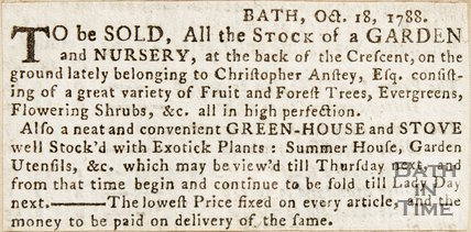 Newspaper article announcing the sale of a garden and nursery at the back of the Royal Crescent. 1788.