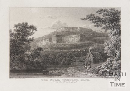 The Royal Crescent from the Bristol Road c.1815?
