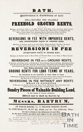 Poster advertising sale of freehold ground rents including Royal Crescent, The Circus and St James Parade. 1856.