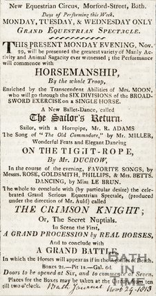 Advertisement of a new Equestrian Circus, Bath. 1813.