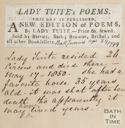 Newspaper article announcing the publication of the latest of Lady Tuite's poems.