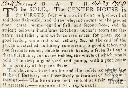 Newspaper article announcing the sale of the centre house in the Circus. 1788.