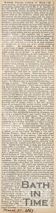 Newspaper article describing a meeting of the Bath Literary and Philosophical Association. 1867.