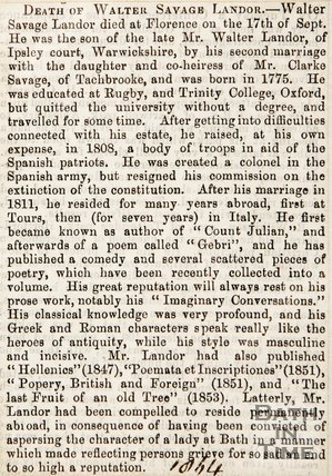 Newspaper article an obituary of the late Walter Savage Landor. 1864.