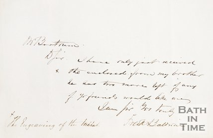 A handwritten note from J.S. Bartrum to E. Hunt concerning an enclosed engraving of the tablet in St Michaels Church.