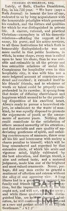 Newspaper article containing the obituary of Cnl Dumbleton. 1825.
