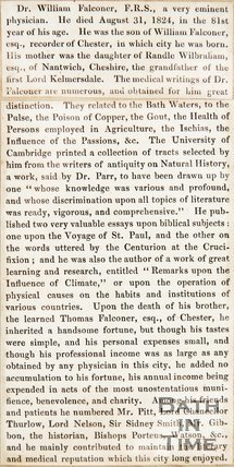Newspaper article containing an obituary of William Falconer. 1824.