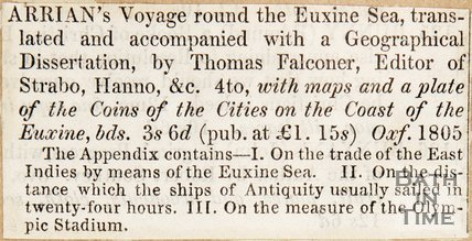 Newspaper article noting Thomas Falconer's 'Arrian Voyage'.
