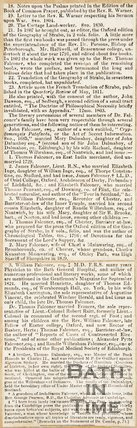 Newspaper article containing an obituary of Thomas Falconer. 1834.