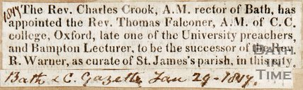 Newspaper article in which Rev. James Cook is announcing Thomas Falconer is to be the new Curate of St James' Parish. 1817.