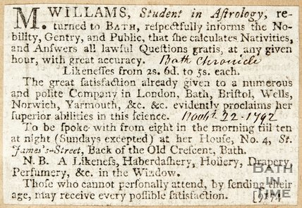 Newspaper article advertising M. Williams' Consultation Sessions 1792