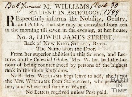 Newspaper article advertising M. Williams' Consultation Sessions 1799
