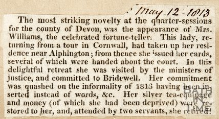 Newspaper article noting the appearance of M. Williams in Devon 1813