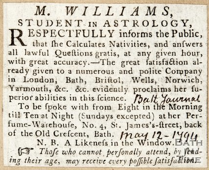 Newspaper article advertising M. Williams' Consultation Sessions 1794