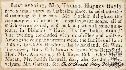 Newspaper article concerning the christening of Mrs. Thomas Haynes Bayly 1820