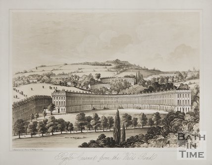 Royal Crescent from the Wells Road c.1850
